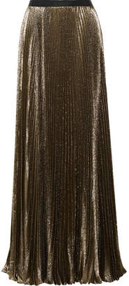 Reem Acra - Sunburst Pleated Metallic Silk-blend Maxi Skirt - Bronze