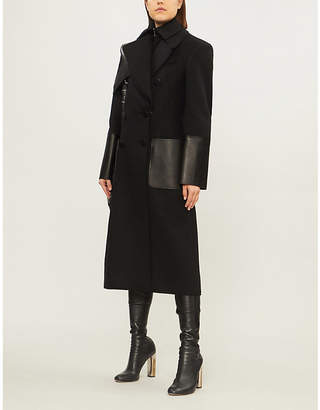 Alexander McQueen Leather-panel double-breasted wool-felt coat