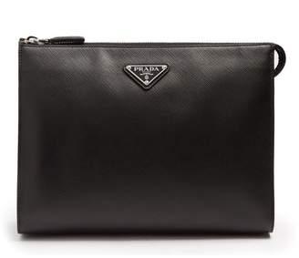 Prada - Logo Plaque Saffiano Leather Washbag - Mens - Black