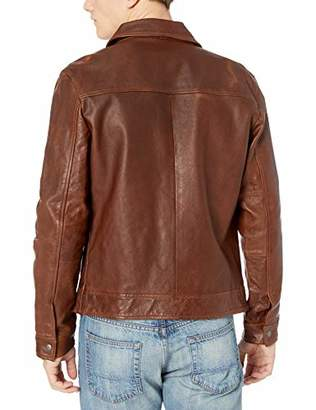 Lucky Brand Men's Aviator Leather Jacket