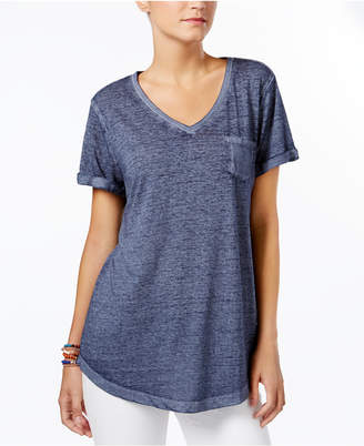 Style & Co V-Neck Burnout Pocket T-Shirt, Created for Macy's $12.98 thestylecure.com