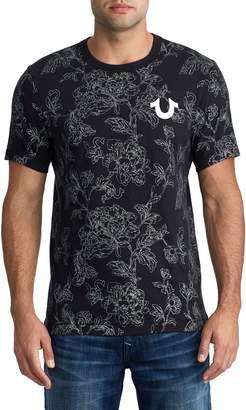 True Religion Brand Jeans Allover Bloom Crewneck Cotton T-Shirt