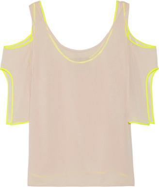Jason Wu - Cold-shoulder Silk Satin-trimmed Georgette Top - Pastel pink $795 thestylecure.com