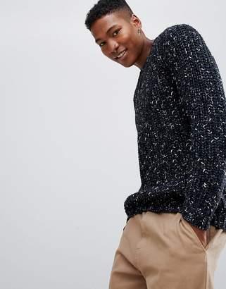 Asos Design Fisherman Rib Sweater In Navy Twist