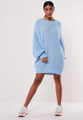 Missguided Blue Crew Neck Extreme Oversized Jumper Dress
