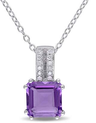 Concerto Amethyst and Diamond Sterling Silver Pendant Necklace