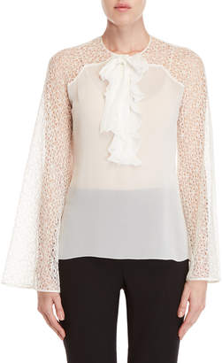 Giambattista Valli Ruffled Lace Sleeve Silk Shirt