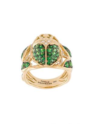 Aurelie Bidermann 'Scarab' tsavorite and diamond ring