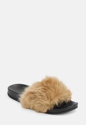 89d8b659be15 Missguided Mocha Faux Fur Fluffy Sliders