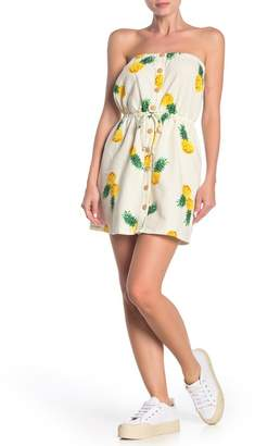 BeBop Strapless Pineapple Linen Blend Mini Dress