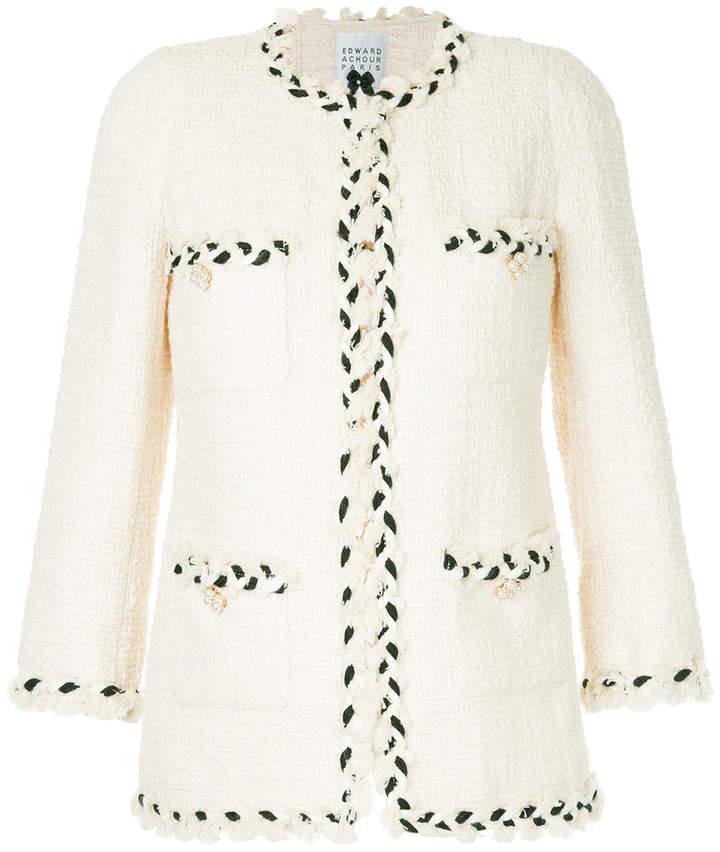 Edward Achour Paris Tweed-Jacke mit geflochtenen Details