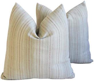 One Kings Lane Vintage French Tan/Red Linen Striped Pillows
