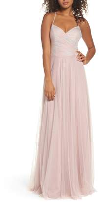 Paige Hayley Occasions Embellished Bodice Net Halter Gown