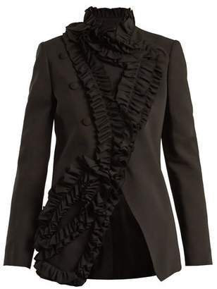 Lanvin Ruffle Trimmed Stretch Cady Blazer - Womens - Black