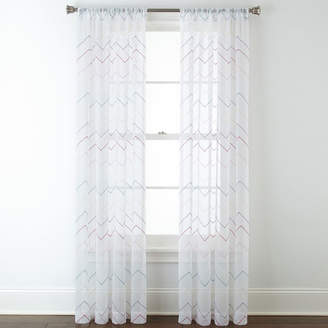 JCPenney Home ExpressionsTM Lexi Chevron Rod-Pocket Sheer Panel