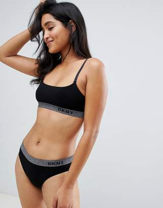 776539b795 DKNY glitter trim logo seamless scoop bralette and bikini brief set in black