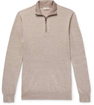 Hackett Slim-Fit Merino Wool, Silk And Cashmere-Blend Half-Zip Sweater