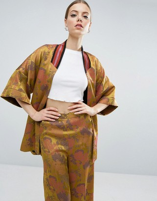 Asos Jacquard Kimono With Tipped Rib