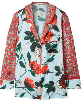 Alice + Olivia Alice Olivia - Keir Floral-print Satin Shirt - Light blue