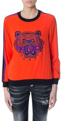 Kenzo Red Embroidered Tiger And Logo Sweatshirt