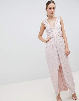 Asos Design DESIGN drape knot front scatter embellished sequin maxi dress