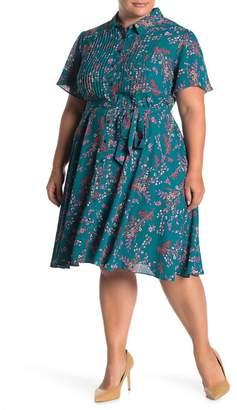 Nanette Lepore NANETTE Floral Print Waist Belt Dress (Plus Size)