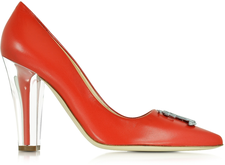 Moschino Moschino Clear Heel Red Leather Pump