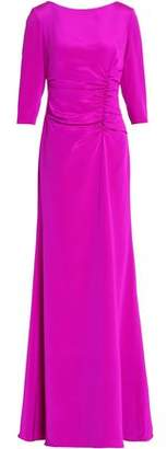 Oscar de la Renta Ruched Silk-Satin Gown