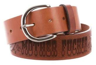 Mother Engraved Leather Belt w/ Tags