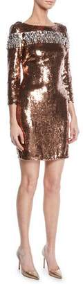 Aidan Mattox Boat-Neck 3/4-Sleeve Sequin Dress w/ Chunky Rhinestones