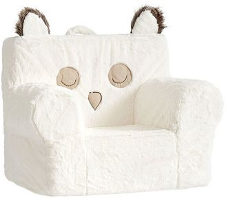 Ivory Faux Fur Owl My First Anywhere chair