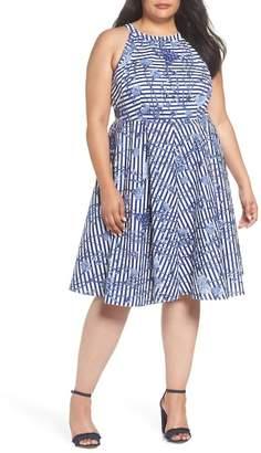 Eliza J Floral Stripe Halter Fit & Flare Poplin Dress (Plus Size)
