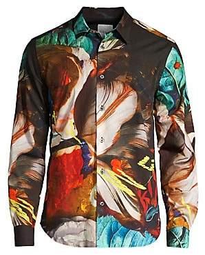 Paul Smith Men's Slim Fit Masters Floral Print Sport Shirt