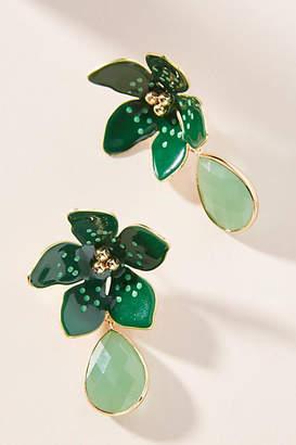 Anthropologie Jeweled Flower Drop Earrings