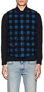 Rrl Men's Reversible Plaid Fleece Vest-Navy Size Xxl