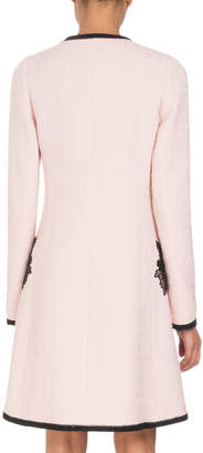Andrew Gn Zip-Front Long-Sleeve A-Line Floral-Embroidered Coat