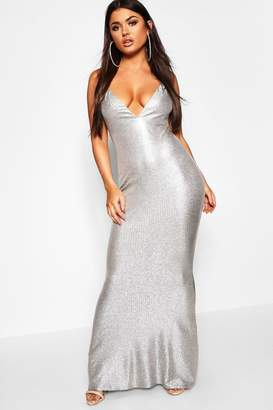 boohoo Metallic Strappy Plunge Fishtail Maxi Dress