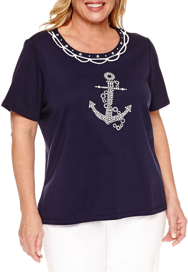 Alfred DunnerAlfred Dunner Seas The Day Short Sleeve Crew Neck T-Shirt-Plus