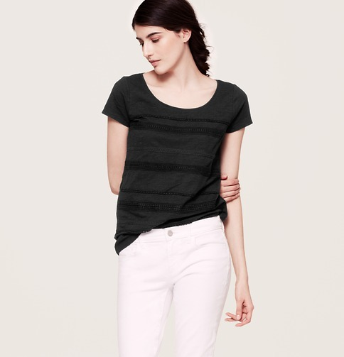 LOFT Petite Crochet Stripe Cotton Tee