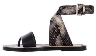 Vince Wrap-Around Embossed Leather Sandals