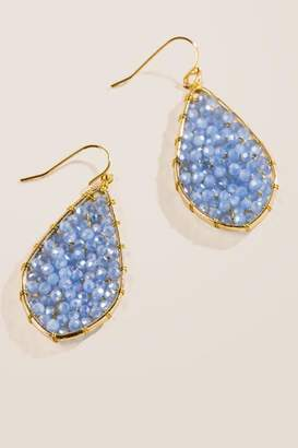 francesca's Lexis Woven Beaded Drop Earrings - Periwinkle