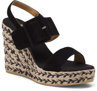 6b0faa49e83 Made In Spain Suede Ankle Strap Platform Wedges