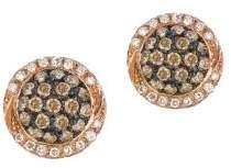 LeVian Chocolatier Vanilla Diamond, Chocolate Diamond and 14K Strawberry Gold Earrings