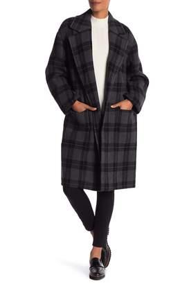 Vince Tonal Plaid Wool Blend Coat