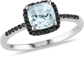 Black Diamond Generic 4/5 Carat T.G.W. Cushion-Cut Aquamarine and 1/7 Carat T.W. 10kt White Gold Halo Ring