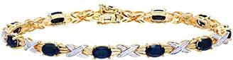 Naava Women's Diamond and Sapphire Bracelet, 9 ct Yellow Gold, Prong Setting 0.05 ct Diamond Weight, Model PBC1856/S