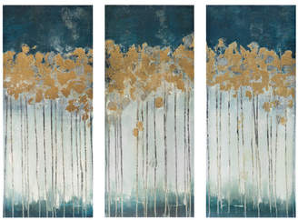 Willa Arlo Interiors 'Midnight Forest' Gel Coat Canvas Wall Art with Gold Foil Embellishment 3-Piece Set