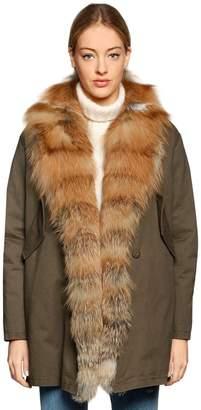 Couture Forte Dei Marmi Bella Red Fox Fur & Cotton Canvas Coat