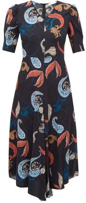 See by Chloe Paisley Print Dipped Hem Crepe Dress - Womens - Black Multi