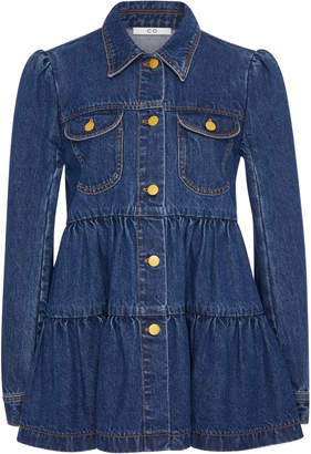 Co Tiered Ruffle Denim Jacket